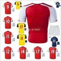 ALEXIS OZIL 14/15 S.CAZORLA home red away soccer jersey + shorts kits, WALCOTT PODOLSKI WILSHERE best quality football uniforms