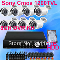 8 Channels CCTV DVR Camera Whole Kit with 1TB Hard Disk SONY CMOS 1200TVL IR Cut night vision Bullet Outdoor Security system