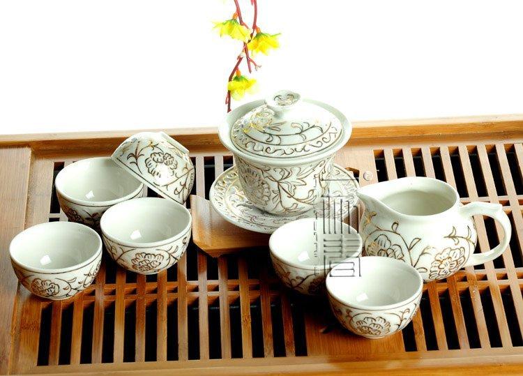 8pcs Beautiful Tea Set Porrtery Teaset A3TJ01 Free Shipping