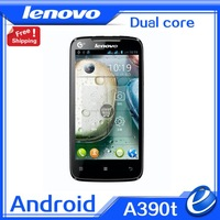 free gifts Lenovo A390t original Phone Android  Dual core  4.0 inch 5MP Dual SIM Russian Ukrainian hebrew cellphone freeshipping