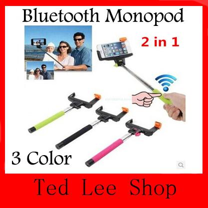 Выдвижная ручной беспроводная связь Bluetooth Selfie монопод Bluetooth палка с пульта дистанционного управления кнопка для iPhone 4 5 5S 5C Samsung Galaxy S5