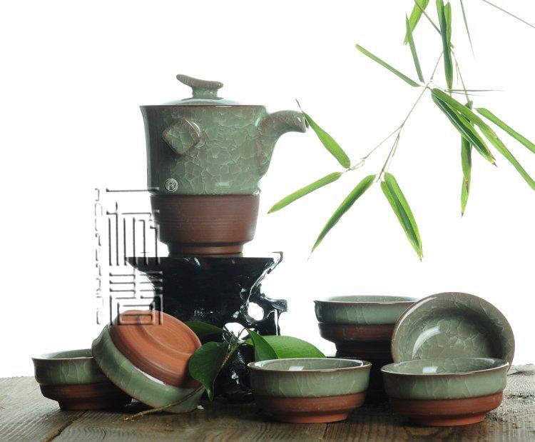 7pcs Exquisite Ice Carck Tea Set Archaize Porrtery Teaset TA3B13 Free Shipping