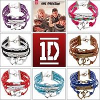 New Bijoux Handmade Gold Chian One Direction Charm Bracelet Infinity Leather Double Heart  Wrap Bracelets Bangles Men Jewelry