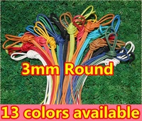 New Arrival~3mm round wax cotton laces~500pair/lot~13 colors~dress shoelaces~100%cotton laces with wax-DHL FREE SHIPPING