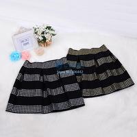Hot Fashion 2014 Women's Rivet High Waist Short Skirt Elastic Ball Gown Mini Bubble Skirt For Woman Drop Shipping 19739