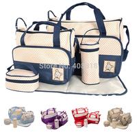 FreeshippingMother infanticipate mummy Babies bags nappy bag multifunctionaldouble-shoulder cross-body 5 piece set messenger bag