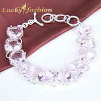 Luckyshine New New Elegant Venus Shiny Charm AAA+ Pear shape Pink topaz 925 sterling silver Strand Bracelets for women
