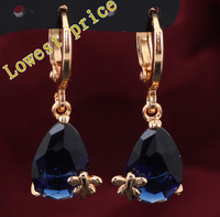 Delicate earrings Blue Crystal Zirconia Drop Earrings 18k gold plated Topaz Party fashion Jewelry Rare Style JE590