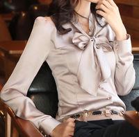 Korean new fashion spring atumn women blouse bow tie collar long sleeve female blouses femininas blusas seda women work wear
