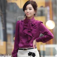 2014 Korean OL new fashion women flounced collar long sleeve silk blouses female puff shirt blouse blusas coreano camicetta