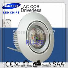 New Driverless 6W led downlight SAMSUNG AC COB recessed jewellery lamps CRI >80