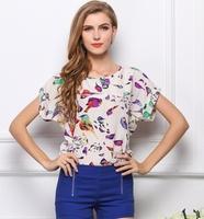 Hot Selling Birds Print t-shirt Women's chiffon blouses/16 styles Short Sleeve/blusas femininas camisetas mujer camisas ropa/WOs