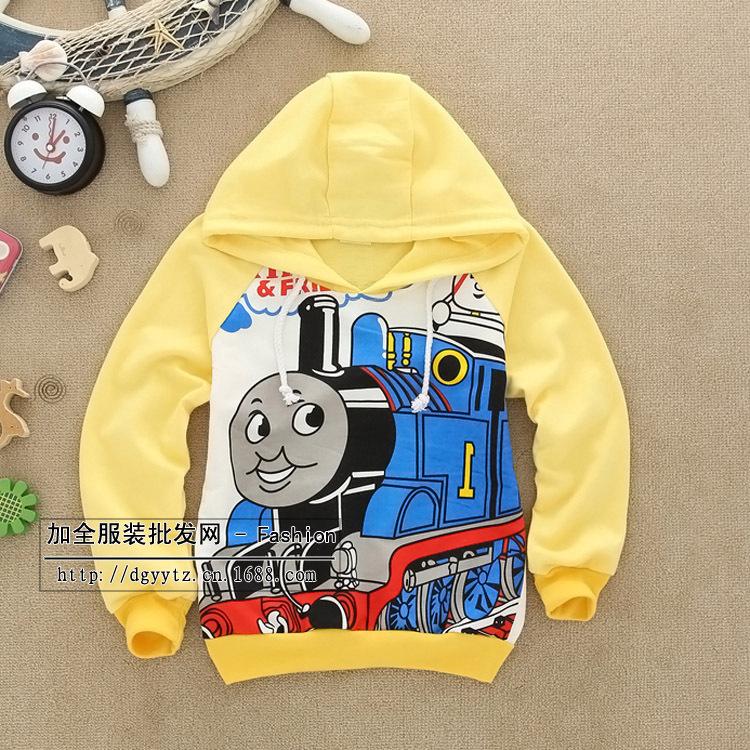 2015 new free shipping hot autumn Thomas train 2-6years boys and girls cartoon pattern hat long-sleeved Hoodies & Sweatshirts(China (Mainland))