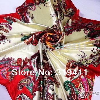 Атлас квадрат большой шелк шарф, 90 * 90 см, Красивые цветы шаль для женщины 121 - 140 SC0271
