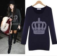 2014 women's pullover sweater Slim Girls Long Sweat Europe plus thick velvet dress