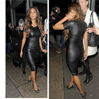 [TomTop Deal] Fashion Women Bandage Dress Ladies' PU Dress Leather Short Sleeve Women Crew Neck Sexy Bodycon Midi Dress