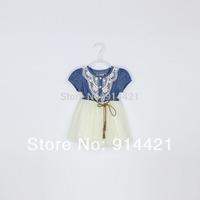 HOT!2014 new fashion Girls baby Lace Belt tutu  Denim dress princess for free shipping