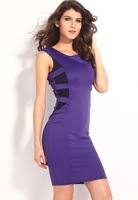 Free shipping  +Round Neck Strappy Back Skintight Midi Dress LC6250