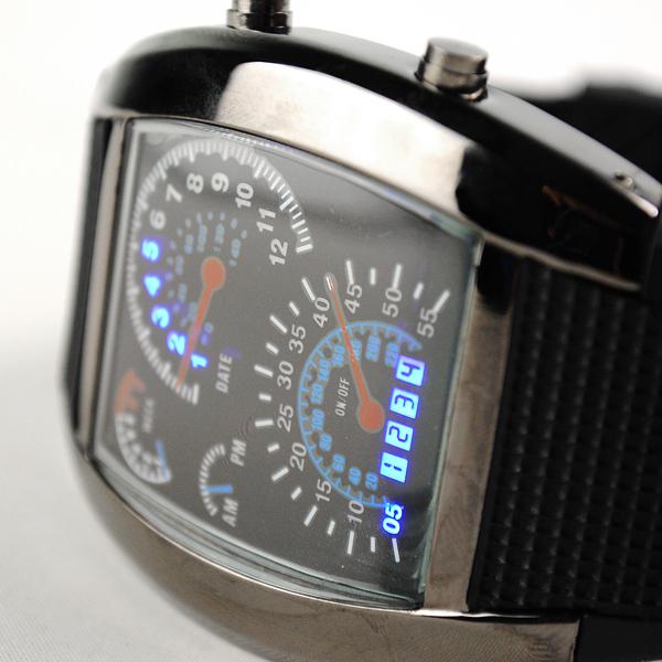 New2014 fashion men watches, Blue Binary LED Displayer Night Aviation Speedometer Digital Wrist RPM Turbo Watch For Sports Gift(China (Mainland))