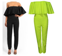 Free shipping 2014 NEW ARRIVALS Exaggerated fashion flounced neck piece pants fit.  TB 5945