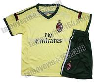 2014-15 AC Milan Yellow Third Jersey soccer jerseys kids soccer jerseys children, EL SHAARAWY # 92, MONTOLIVO #18,POBINHO 7