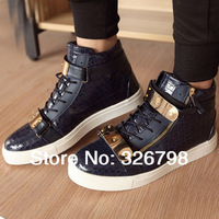 Free shipping guangzhou white men's shoes black leather crocodile casual shoes sneakers