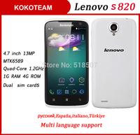 Original Lenovo Android phone S820 4.7'' 13MP Camera 1280*720px MTK6589 Quad core 1G RAM 4G ROM Multi language in stock