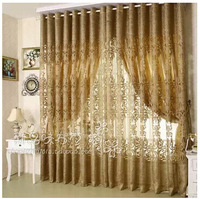 Readymade Quality  European style Gold  jacquard curtain yarn 3M wide*2.6M wide with hook type can customize&match cloth curtain