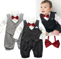 2014 New Hot Baby Boys Gentleman Romper Infant Clothing Long Sleeve Newborn Macacao Bebe Fantasia Roupas Infantil