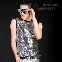 XS-XXXL HOT ! Free shipping fashion men's clothing singer silver slim paillette sleeveless t shirt basic costumes PLUS SIZE vest