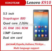2014 Original Lenovo K910 VIBE Z phone 5.5'' screen 13MP Camera 2G RAM 16G ROM quad core Qualcomm Snapdragon 800 Multi language
