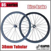 Free shipping Disc brake 38mm tubular carbon wheels road wheels/ carbon fiber Cyclocross wheelset