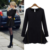 Fashion 2014 women's  one-piece dress long-sleeve basic dress slim loose plus size In the spring of popular