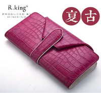 2014 Women's Long Hasp Design Cowhide Crocodile Genuine Leather Wallet , High Quality Vintage carteira feminina , Drop Shopping
