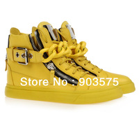 Free shipping gold chain sneakers white black high tops women shoes size 35-46 real leather best quality box and bags