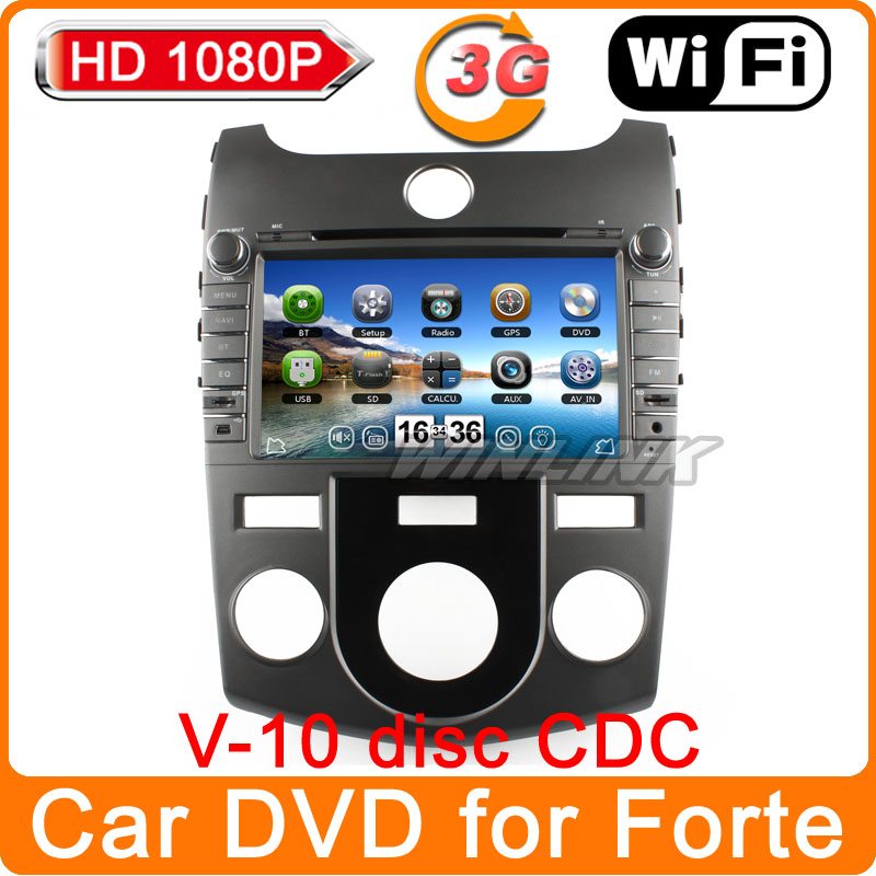 "2014 1080P Virtual CD-10 disc 8"" Car pc GPS DVD Player Head Unit for Kia Forte Cerato Koup Radio TV Tape Recorder Russian menu(China (Mainland))"