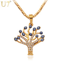 Evil Eye Pendants Unique Tree Shape 2014 New Trendy 18K Real Gold Plated Rhinestone Women Fashion Jewelry Pendant Necklaces P353