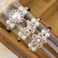 10 pieces/lot fashion pearl crystal elastic hair bands hair bow for women hair accessories girls hair ties headwear