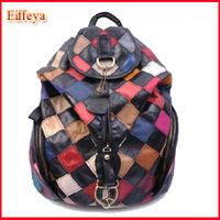 Girls Sheepskin Patchwork Korean Genuine Leather Women Backpack 2015 New Fashion Travel Bags