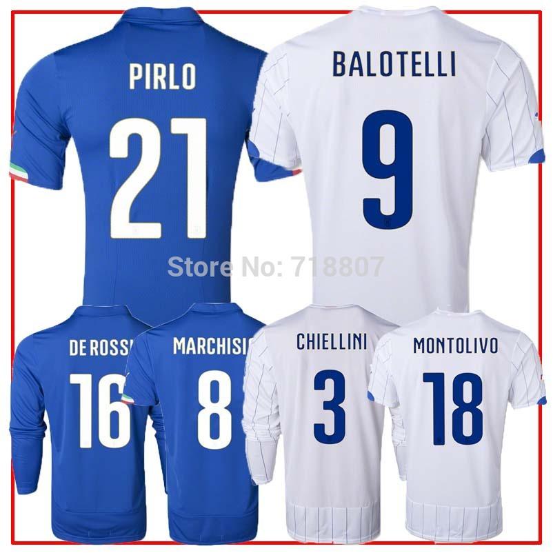 ITALY 2014 World Cup Jersey Blue 14/15 BALOTELLI ITALY Home Soccer Jerseys Kit Italy White PIRLO Jerseys Top A+++ Thailand(China (Mainland))