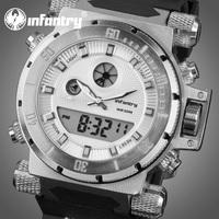 INFANTRY Aviator Men's King Size Chronograph Quartz Wrist Watch Backlight White Dial Black Rubber NEW Fashion 2014