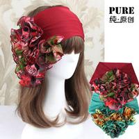 New Hair Accessory Chiffon Elastic Wide Chiffon Ribbon Multicolour Flower Floral Dance Sport Yoga Headband Headwear In Stock