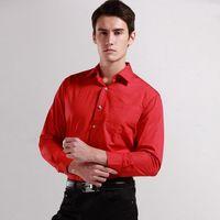 Spring 2015 Brand Men Fashion Long sleeve dress shirt shirts cotton Diamond Buttons Wedding Red High Quality Free Shipping  8068