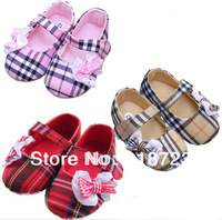 2014 new spring and summer baby shoes girls plaid fashion bow 3 colors first walker pre-walker learn slip toddler shoes