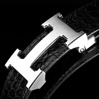 Luxury Brand Crocodile pattern Design leather belt for men High Quality Cowhide Black straps for men MBP8113E+ free shipping