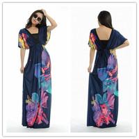 summer dress 2014 Fashion Women sexy backless Floral Printing Bohemia Maxi Long Summer Beach  Maxi Women  Dress Plus Size M-6XL
