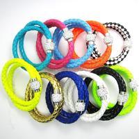 1PCS PU Leather Bracelet Two Laps Disco Ball Crystal Shamballa Magnetic Clasp Bracelet(Long:38CM)04