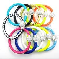 1PCS Wholesale Hot PU Leather Bracelet & Disco Ball Crystal Shamballa Magnetic Clasp Bracelet 01