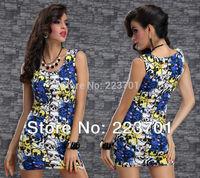 2014 New Arrivals Sleeveless Plaid Check Club Dress Animal Print Short Party Dress For Women