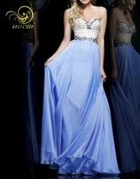 New 2014 Fashion Design Handmake Crystal Special Occasion Production Chiffon Evening Dress Long OL102343
